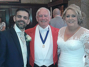 Mike with Lyndsay & Philip the new Mr & Mrs Barnes at their wedding reception at 30 James Street